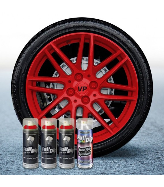 Pack 3 Sprays de 400ml Color ROJO + 1 Spray Barniz MATE