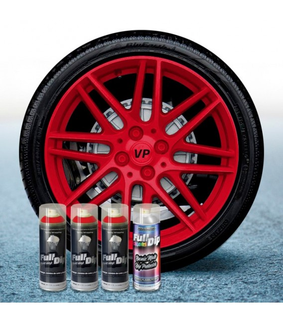 Pack 3 Sprays de 400ml Color ROJO CARMIN + 1 Spray Barniz MATE
