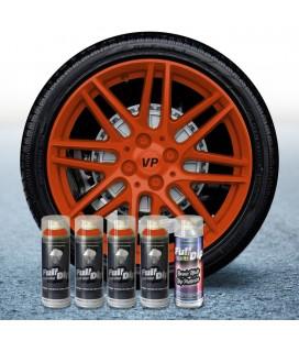 Pack 4 Sprays de 400ml Color NARANJA + 1 Spray Barniz MATE