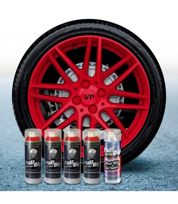 Pack 4 Sprays de 400ml Color ROJO CARMIN + 1 Spray Barniz MATE