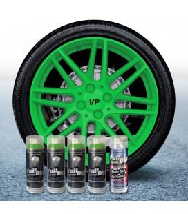 Pack 4 Sprays de 400ml Color VERDE LIMA + 1 Spray Barniz MATE