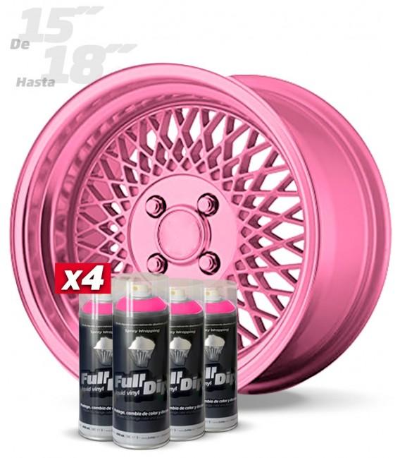 Pack 4 Sprays de 400ml Color ROSA METALIZADO