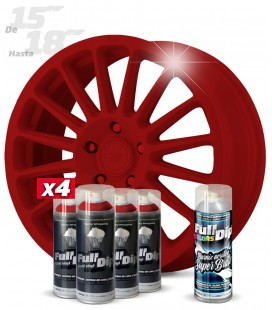 Pack 4 Sprays de 400ml Color ROJO CARMÍN + 1 Spray BRILLO