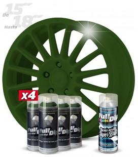 Pack 4 Sprays de 400ml Color VERDE MILITAR + 1 Spray BRILLO