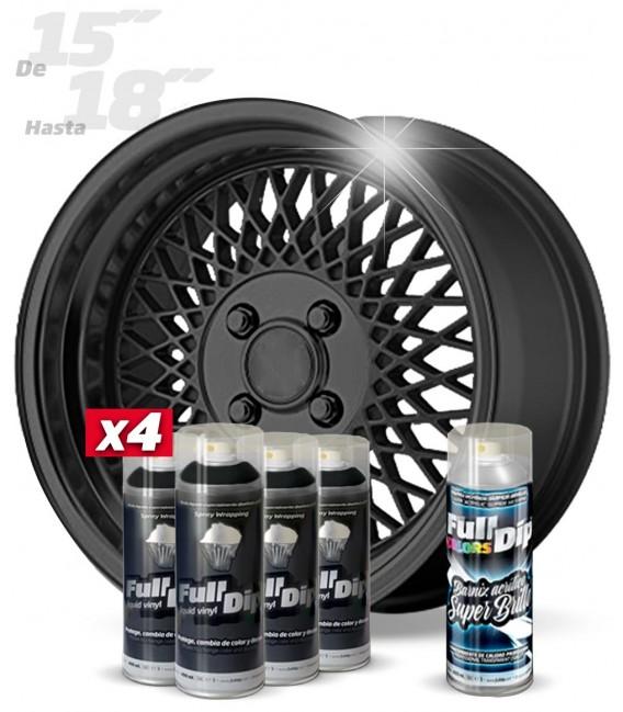 Pack 4 Sprays de 400ml Color HYPERBLACK METALLIC + 1 Spray BRILLO