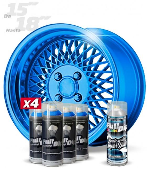 Pack 4 Sprays de 400ml Color AZUL METALIZADO + 1 Spray BRILLO