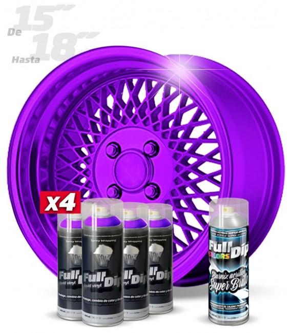 Pack 4 Sprays de 400ml Color VIOLETA METALIZADO + 1 Spray BRILLO