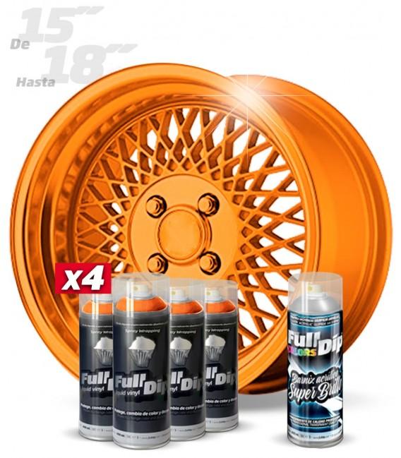 Pack 4 Sprays de 400ml Color NARANJA METALIZADO + 1 Spray BRILLO