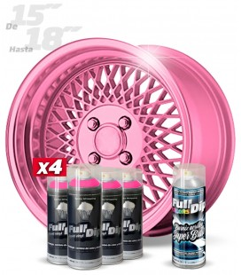 Pack 4 Sprays de 400ml Color ROSA METALIZADO + 1 Spray BRILLO