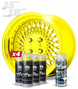 Pack 4 Sprays de 400ml Color AMARILLO METALIZADO + 1 Spray BRILLO