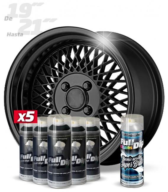 Pack 5 Sprays de 400ml Color NEGRO METALIZADO + 1 Spray BRILLO