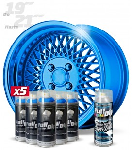 Pack 5 Sprays de 400ml Color AZUL METALIZADO + 1 Spray BRILLO