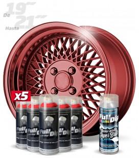 Pack 5 Sprays de 400ml Color ROJO METALIZADO + 1 Spray BRILLO