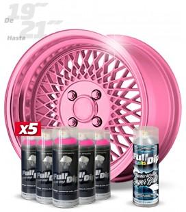 Pack 5 Sprays de 400ml Color ROSA METALIZADO + 1 Spray BRILLO